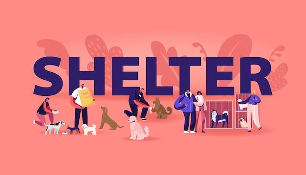 Centro de reabilitação ou adoção para o conceito de animais de estimação perdidos. ilustração plana dos desenhos animados