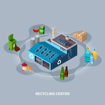 Centro de reciclagem de composição isométrica