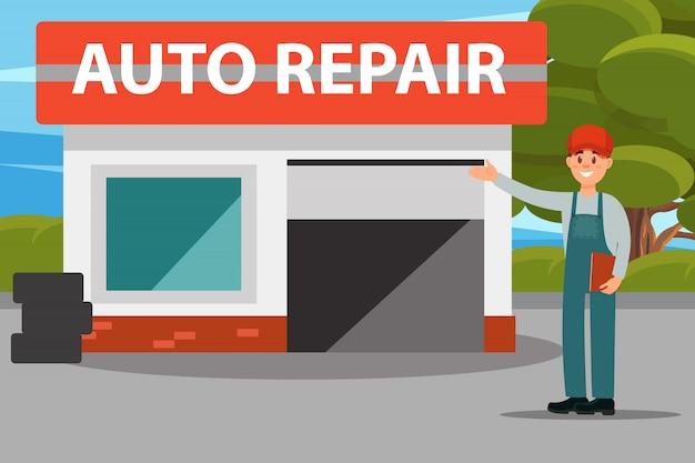 Centro de serviço auto reparo automóvel, mecânica de uniforme, fazendo uma ilustração de gesto de boas-vindas