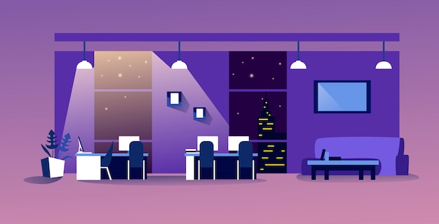 Centro de trabalho criativo criativo espaço de trabalho moderno vazio sem pessoas armário com mobiliário interior do escritório noturno