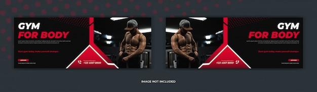 Centro de treinamento de fitness ginásio mídia social postar página de capa do facebook timeline web anúncio banner design