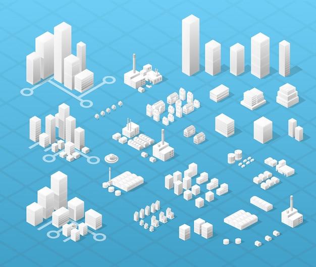 Centro isométrico de vetor da cidade no mapa