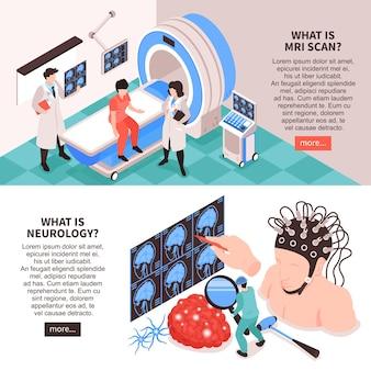 Centro neurológico com teste de ressonância magnética e ilustração de informações de pesquisa do cérebro