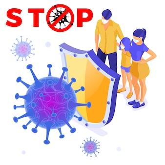Cepa de vírus com escudo protege a família em máscaras.