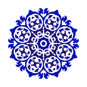 Cerâmica de flores azuis e brancas