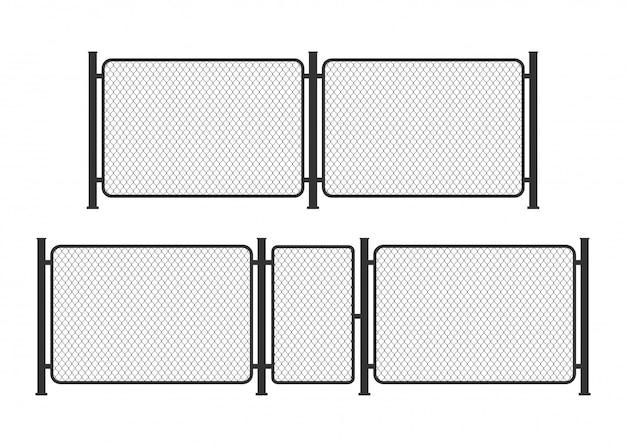 Cerca de arame de ligação metálica. barreira da prisão, propriedade protegida. ilustração.