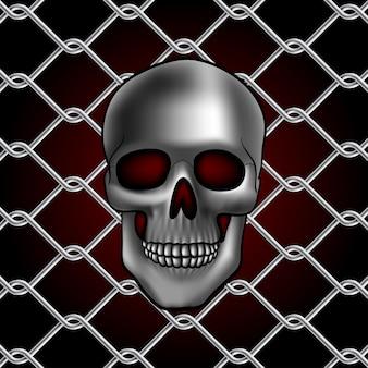 Cerca de arame de metal com crânio