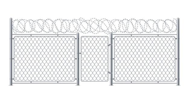 Cerca de arame ou proteção de elo de corrente com construção de portão ou arame para polícia ou prisão