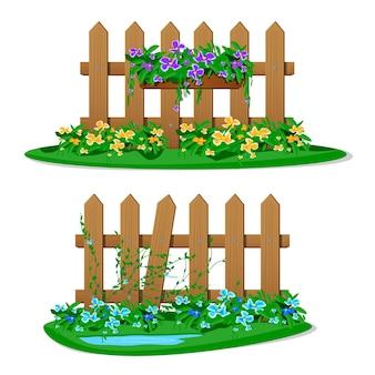 Cerca de madeira dos desenhos animados com flores no jardim em vasos pendurados. conjunto de cercas de jardim em fundo branco. construção de silhueta de placas de madeira em estilo com decorações de flores penduradas