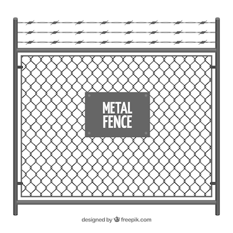 Cerca de metal com arame farpado