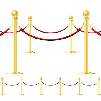 Cerca de ouro sem costura com corda vermelha isolada no branco