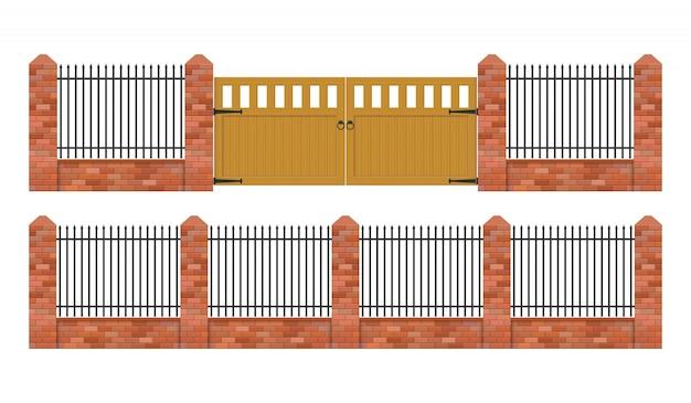Cerca de tijolo com portão de madeira ilustração isolado no fundo branco