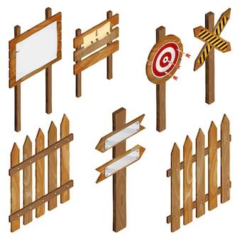 Cerca, placas de madeira, sinal de seta, alvo de dardo.