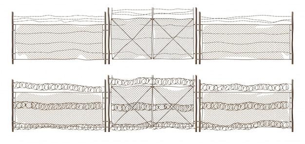 Cerca velha de arame de metal com portão e arame farpado