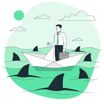 Cercado por ilustração do conceito de tubarões