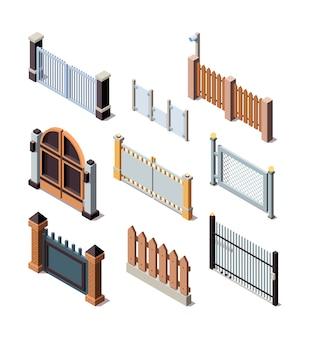 Cercas de construção. metais de portão de porta de jardim ou cercas de grades de painéis de madeira vetor isométrico. barreira de ilustração e borda para cerca de proteção