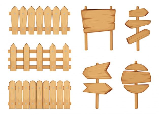 Cercas de jardim e sinais com textura de madeira. conjunto de ilustração vetorial isolado no branco