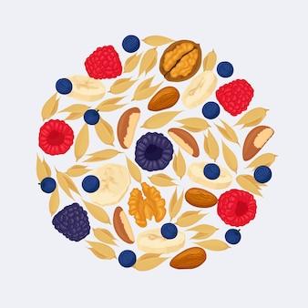 Cereais de amêndoa, morango, mirtilo e nozes. pilha de frutas vermelhas, bananas e nozes