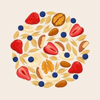 Cereais de amêndoa morango, mirtilo, noz, sobre fundo claro. pilha de bagas, bananas e nozes. ilustração