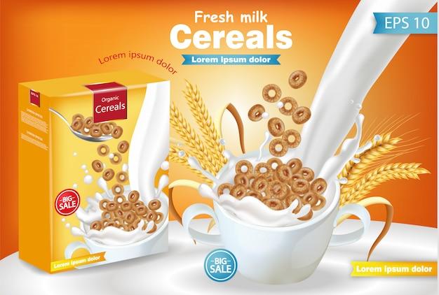 Cereais de centeio em leite respingo realista maquete