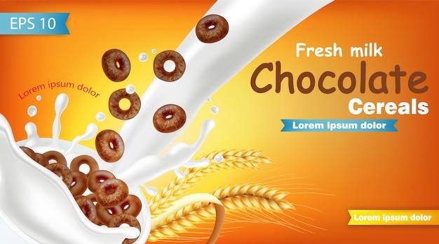 Cereais de chocolate de centeio em maquete de respingo de leite