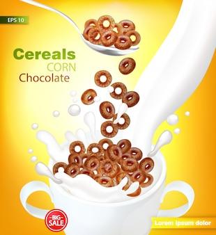 Cereais de chocolate orgânico com leite respingo maquete