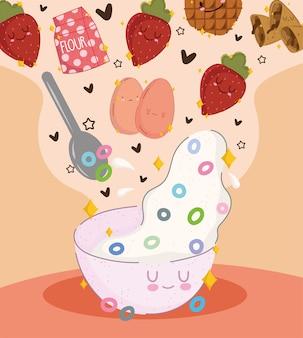 Cereais e frutas matinais