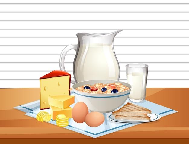 Cereais matinais em uma tigela com jarra de leite em um grupo na mesa