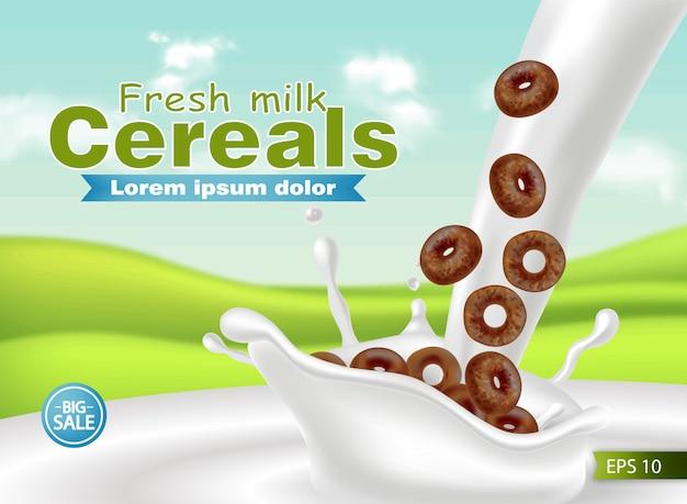 Cereais orgânicos em leite respingo maquete realista