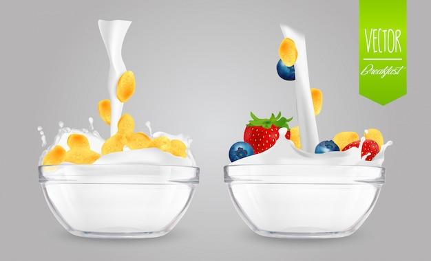 Cereal com leite e bagas