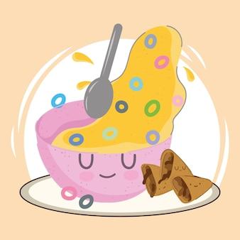 Cereal de café da manhã de desenho animado Vetor Premium