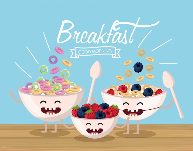 Cereal feliz com frutas e braços com pernas