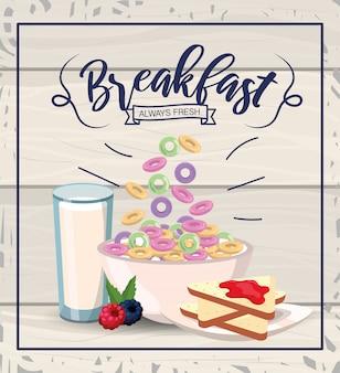 Cereal saudável com pão fatiado e copo de leite