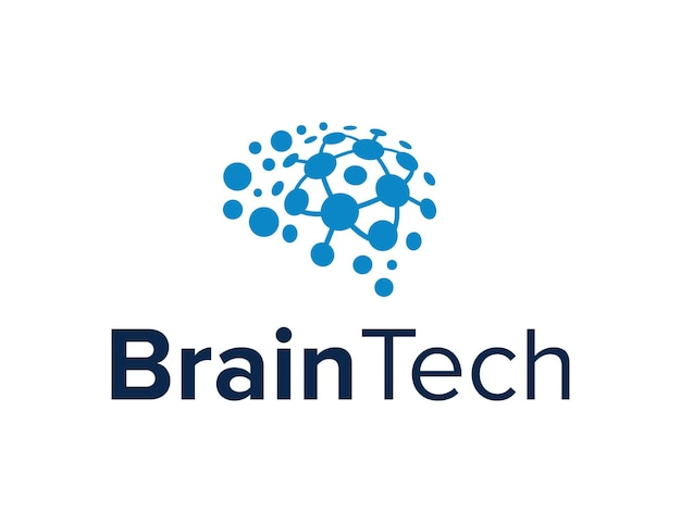 Cérebro abstrato para a indústria de tecnologia simples, elegante, geométrico, moderno, criativo, design de logotipo