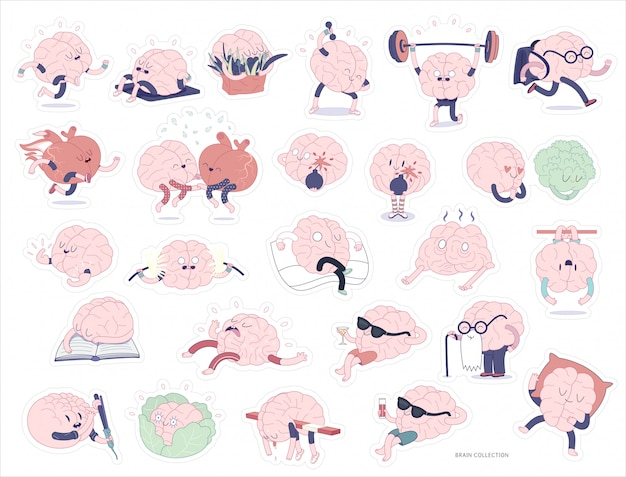 Cérebro adesivos conjunto imprimível