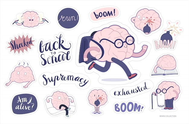 Cérebro adesivos educação e conjunto de estresse