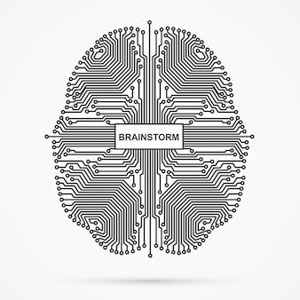 Cérebro. brainstorming, poder pensar tecnologia.