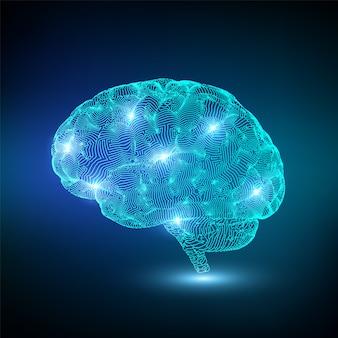 Cérebro brilhante digital
