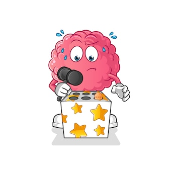 Cérebro brincar de bater um mascote toupeira. desenho animado