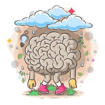 Cérebro cansado sob as nuvens de chuva da ilustração