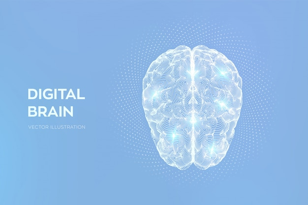 Cérebro. cérebro digital com código binário. rede neural.