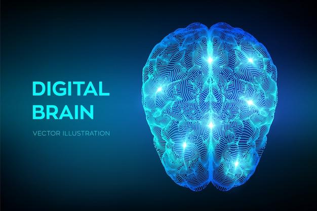 Cérebro. cérebro digital. tecnologia de ciência de emulação virtual de inteligência artificial.