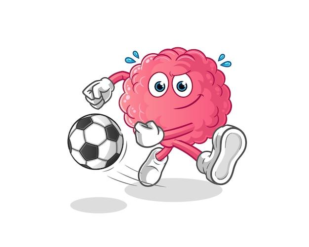 Cérebro chutando o desenho da bola. mascote dos desenhos animados