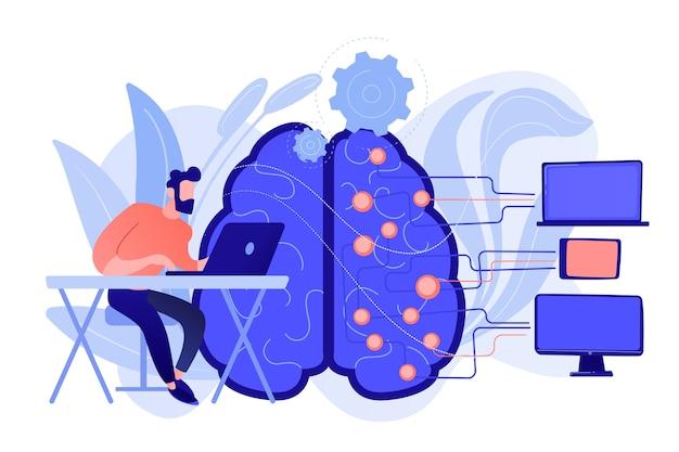 Cérebro com circuito digital e programador com laptop. aprendizado de máquina, inteligência artificial, cérebro digital e conceito de processo de pensamento artificial. ilustração isolada em vetor.