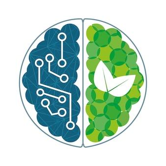 Cérebro com circuitos azuis e plantas verdes