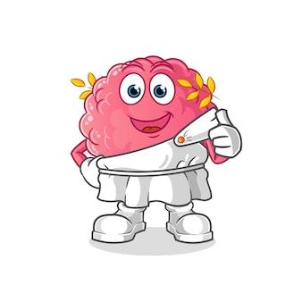 Cérebro com desenho de roupa tradicional grega. mascote dos desenhos animados