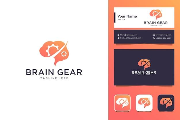 Cérebro com engrenagem, design de logotipo moderno e cartão de visita