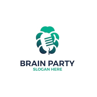 Cérebro com modelo de design de logotipo de microfone de símbolo