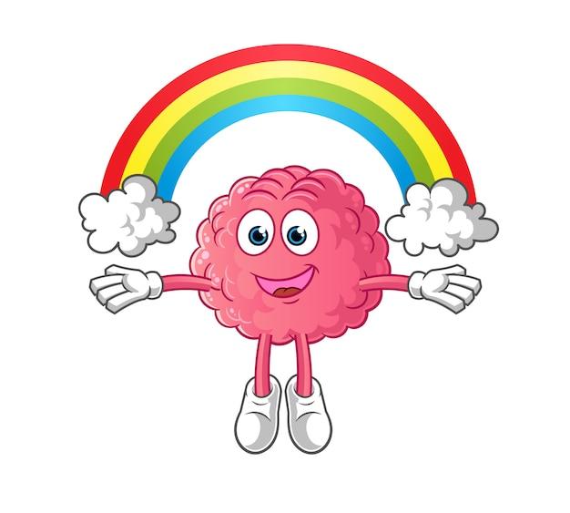 Cérebro com personagem de desenho animado de imaginação