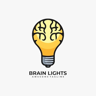 Cérebro com vetor de design de logotipo de lâmpada